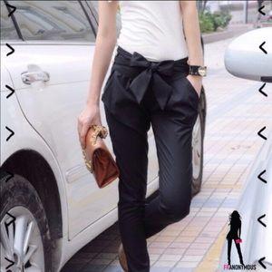 Pants - Black Polished Cotton Tie Front Pants